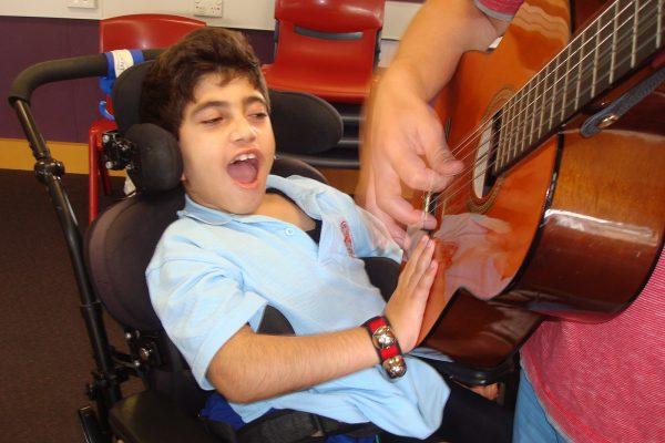 Touching the guitar