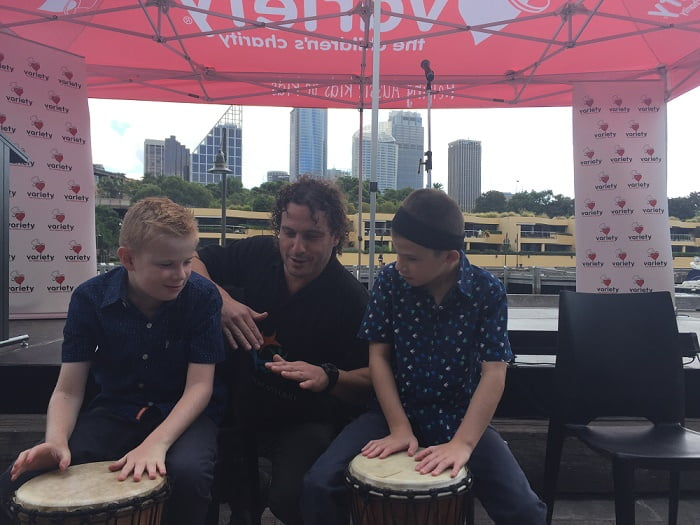 Drumming at Variety's Fine China Lunch