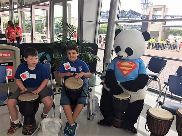 Drumming at Variety Christmas Party